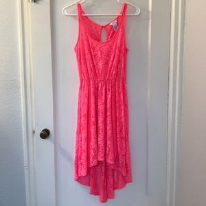 Hot pink lace high low dress